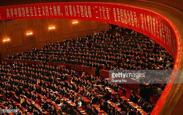 Delegates attend the Chinese Communist Party Congresson at the Great Hall of the People on October 21, 2007 in Beijing, China. The Communist Party...