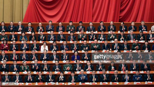 Delegates attend the Closing Ceremony of the 19th National Congress Of The Communist Party Of China at Great Hall of the People on October 24, 2017...