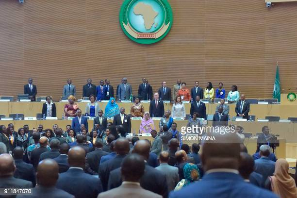 Delegates attend the closing ceremony of the 30th Ordinary Session of the Assembly of Heads of State and Government of the African Union in Addis...