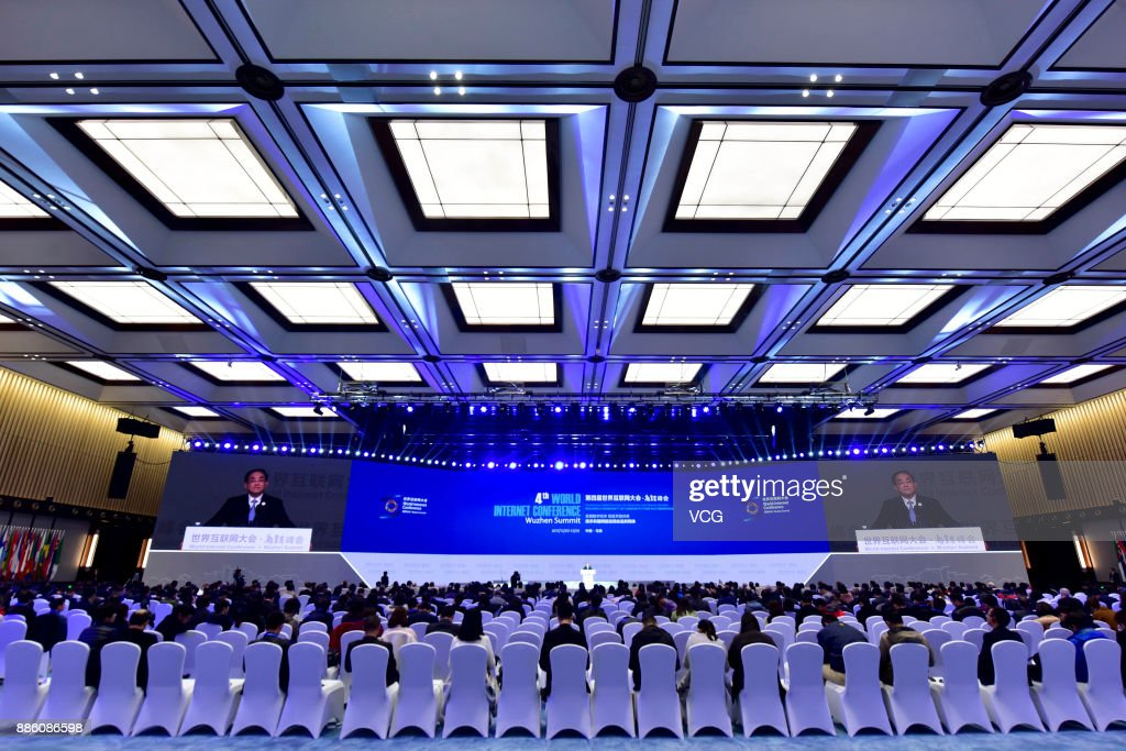 Delegates attend the closing ceremony of the 4th World Internet Conference on December 5, 2017 in Wuzhen, Zhejiang Province of China. The 4th World Internet Conference - Wuzhen Summit themed with 'Developing digital economy for openness and shared benefits -- building a community of common future in cyberspace.' is held from Dec 3 to 5 in Wuzhen of Zhejiang.