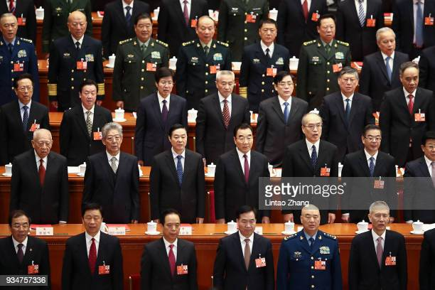 Delegates attend the closing session of the National People's Congress at the Great Hall of the People on March 20 2018 in Beijing China