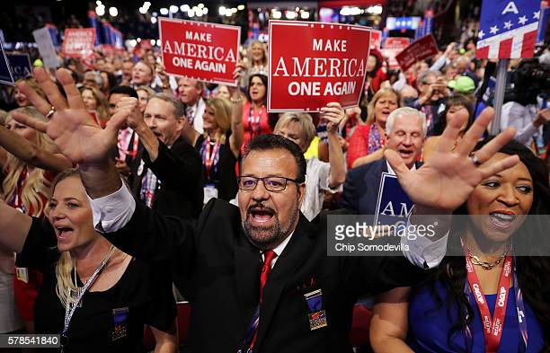 Delegates attend the evening session of the fourth day of the Republican National Convention on July 21 2016 at the Quicken Loans Arena in Cleveland...