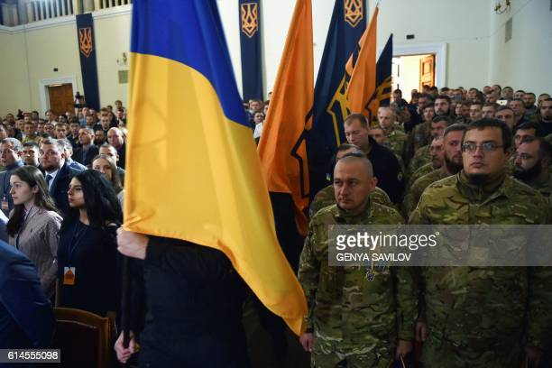 """Delegates attend the first congress of the new political party """"National Corps"""", created from the members of """"Azov"""" civil corps and veterans of..."""