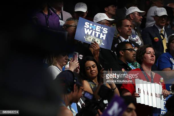 Delegates attend the first day of the Democratic National Convention at the Wells Fargo Center July 25 2016 in Philadelphia Pennsylvania An estimated...