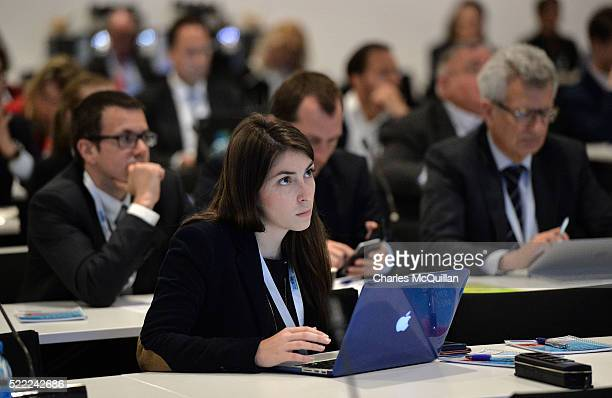Delegates attend the LawAccord joint session with the Court of Arbitration during the second day of the SportAccord Convention at the SwissTech...