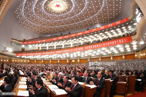 Delegates attend the opening ceremony of the 19th National Congress of the Communist Party of China at Great Hall of the People on October 18, 2017...