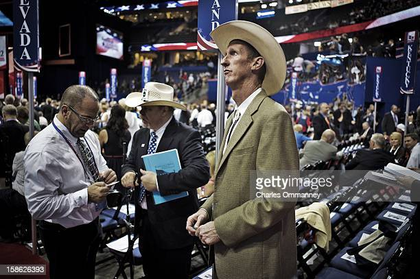 Delegates attend the Republican National Convention at the Tampa Bay Times Forum on August 30 2012 in Tampa Florida Today is the third and last full...