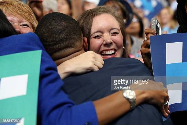 Delegates celebrate after formally nominating Democratic presidential candidate Hillary Clinton on the second day of the Democratic National...