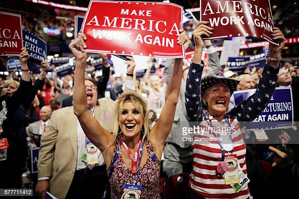 Delegates celebrate after the Speaker of the House Paul Ryan announces the official nomination of Republican presidential candidate Donald Trump on...