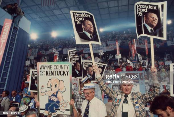 Delegates crowd on the convention floor at the 1976 Republican National Convention Kemper Arena