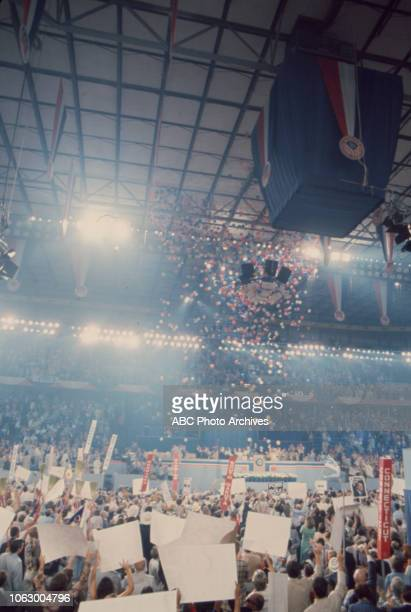 Delegates crowd on the convention floor with balloons dropping at the 1976 Republican National Convention Kemper Arena