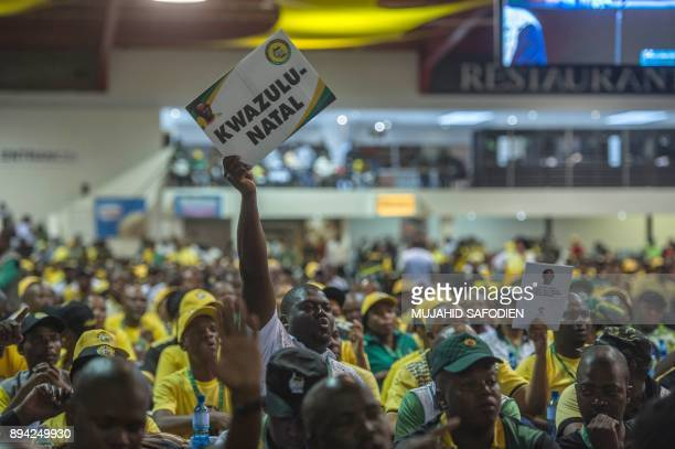 Delegates dispute the votes at the NASREC Expo Centre during the 54th ANC national congress on December 17 2017 in Johannesburg South Africa's ruling...