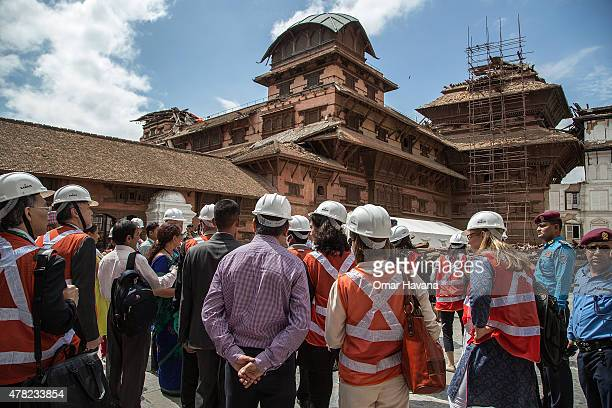 Delegates from different organisations visit Basantapur Durbar Square a day ahead of the International Conference on Nepal's Reconstruction on June...