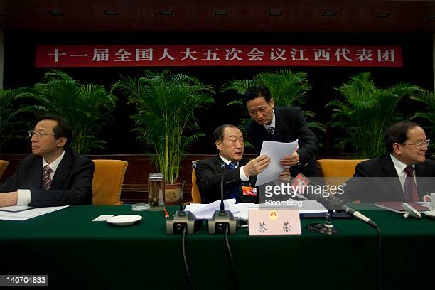 Delegates from Jiangxi Province attend a session as China's National People's Congress takes place in Beijing China on Monday March 5 2012 China's...