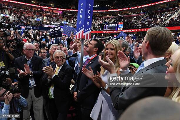 Delegates from New York and Donald Trump's family including Donald Jr Ivanka Eric and Tiffany celebrate after the nominating process for the state of...