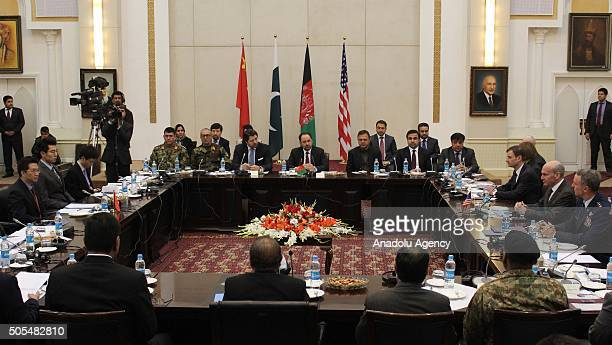 Delegates from Pakistan Afghanistan China and United States attend a meeting hoping to lay the roadmap for peace talks with the Taliban at the...