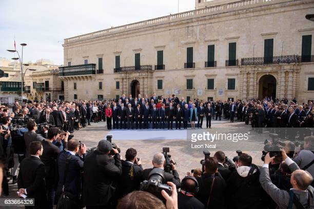Delegates from the EU Informal Summit gather for the family photo on February 3, 2017 in Valletta, Malta. Theresa May attends an informal summit of...