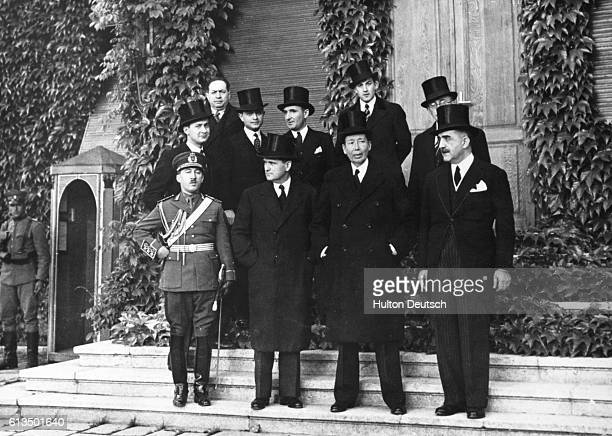 Delegates from the Little Entente Conference in Belgrade headed by Nicolas Titulesco after laying a wreath on the tomb of King Alexander