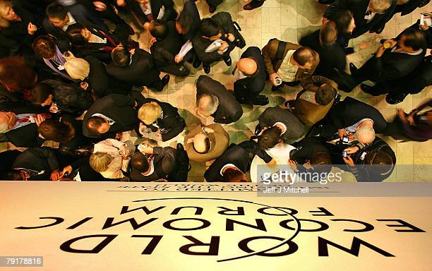 Delegates gather at the World Economic Forum January 23 2007 in Davos Switzerland Participants have arrived in Davos for the World Economic Forum's...