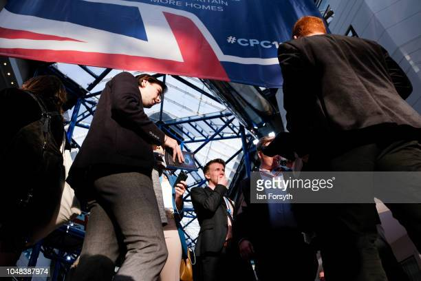 Delegates gather inside the International Convention Centre at the close of day three at the Conservative Party Conference on October 2 2018 in...