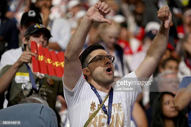 A delegates gestures while chanting during the opening of the first day of the Democratic National Convention at the Wells Fargo Center July 25 2016...