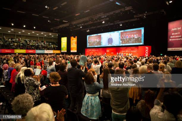 Delegates give John McDonnell MP a standing ovation after speaking on the third day of the Labour Party conference on Monday September 23rd 2019 in...