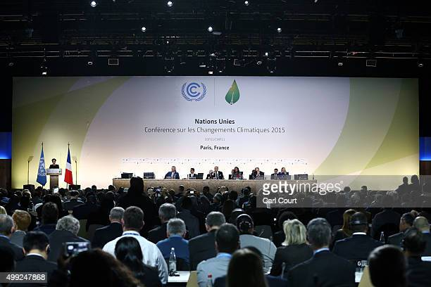 delegates including Prince Charles listen as Christiana Figueres the executive secretary of the UN Framework Convention on Climate Change speaks...