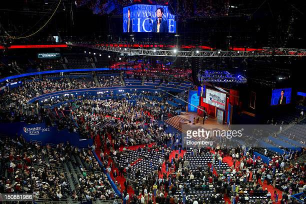 Delegates journalists and guests mill around the Tampa Bay Times Forum at the Republican National Convention in Tampa Florida US on Tuesday Aug 28...