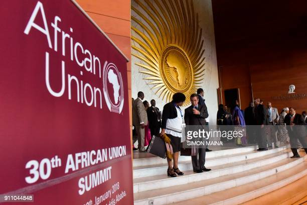 Delegates leave the plenary hall of the Africa Union headquarters before the start of the 30th Ordinary Session of the Assembly of Heads of State and...