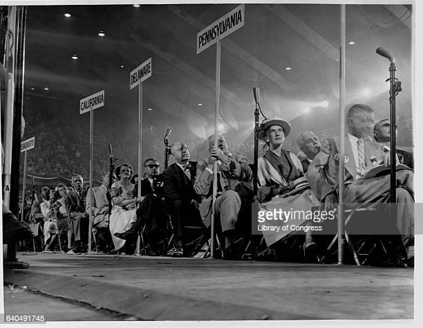 Delegates listen to former president Herbert Hoover at the Republican National Convention Chicago July 8 1952