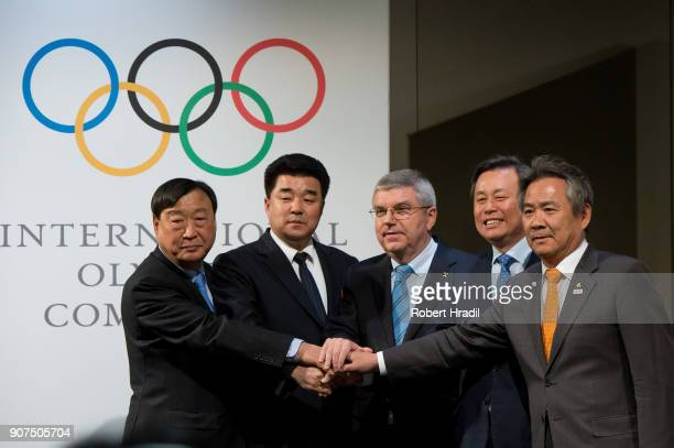 Delegates of both countries shakes hands prior signing the declaration From the left Mr Hee Beom LeePresident of the Pyeongchang Organizing Committee...