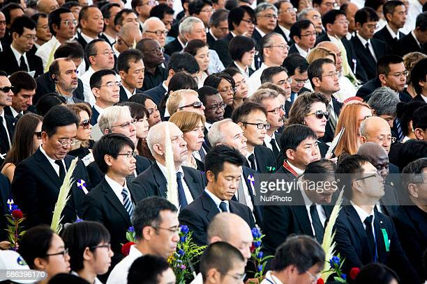 Delegates of foreign diplomatic delegations pay respects during 71st anniversary of the atomic bombing on Hiroshima ceremony at Hiroshima Peace...