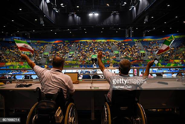 Delegates of Iran celebrate during the Mens Sitting Volleyball golden medal match between Iran and Bosnia and Herzegovina on day 11 of the Rio 2016...