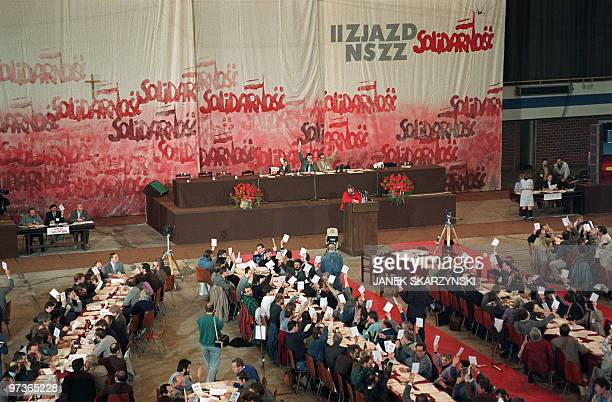 Delegates of Solidarity trade union movement vote on April 21 during the second day of the second congress since 1981 in Gdansk Solidarity is a...