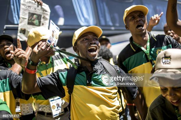 TOPSHOT Delegates of South Africa's ruling African National Congress arrive at the NASREC Expo Centre to attend the 54th ANC National Conference in...