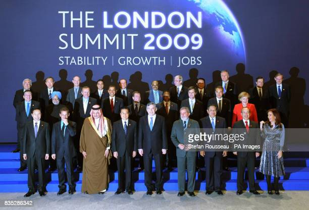 Delegates of the G20 London summit pose for a group picture in the Excel Conference Centre east London Back from left Dominique StraussKahn managing...