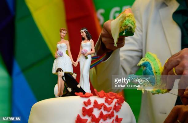 Delegates of the Greens cut a wedding cake in rainbow colors and decorated with figurines of two women and two men at the offices of the Greens'...