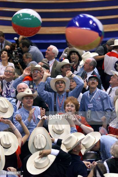 Delegates play with beach balls at the 2000 Republican National Convention at the First Union Center in Philadelphia Pennsylvania 02 August 2000 The...