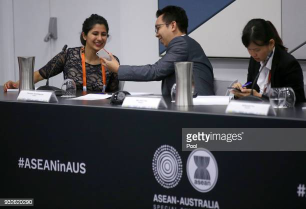 Delegates prepare for an Emerging Leaders roundtable at The Association of Southeast Asian Nations ASEAN special summit on March 16 2018 in Sydney...