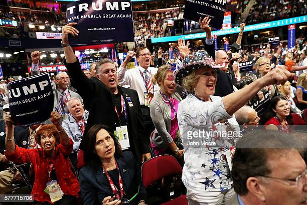 Delegates shout 'guilty' as New Jersey Governor Chris Christie speaks on the second day of the Republican National Convention on July 19 2016 at the...