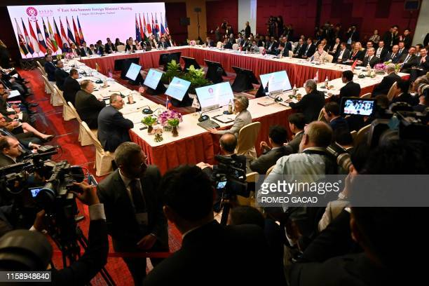 Delegates take part in the East Asia Summit Foreign Ministers' Meeting on the sidelines of the 52nd Association of Southeast Asian Nations Foreign...