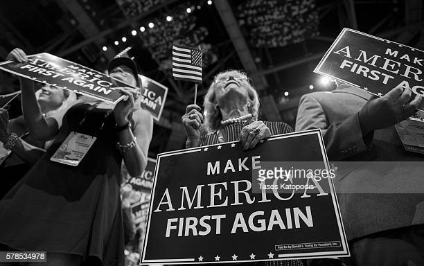 Delegates take part on the third day of the Republican National Convention on July 20 2016 at the Quicken Loans Arena in Cleveland Ohio An estimated...