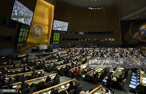 Delegates to the United Nations General Assembly April 2 2013 after passing the first UN treaty regulating the international arms trade The UN...