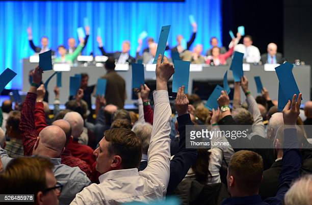 Delegates vote at the Alternative for Germany federal congress on April 30 2016 in Stuttgart Germany The AfD a relative newcomer to the German...