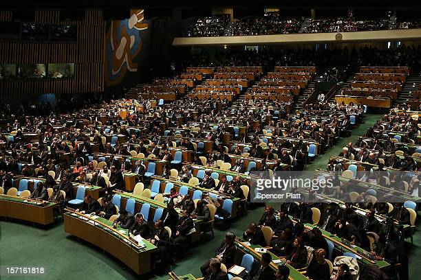 Delegates wait for Palestinian Authority President Mahmoud Abbas to speak to the General Assembly at the United Nations before a UN General Assembly...