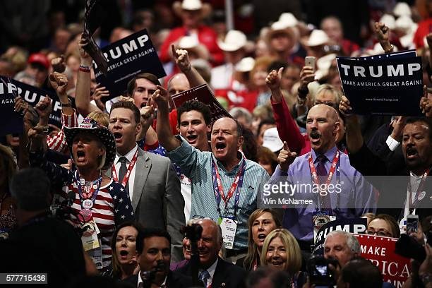 Delegates yell 'guilty' as they participate during New Jersey Gov Chris Christie's speech on the second day of the Republican National Convention on...