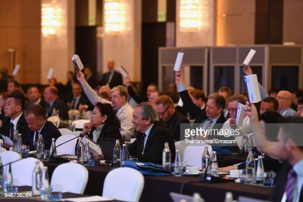 Delegation attend the IWGA General Annual Meeting on day two of the SportAccord at Centara Grand Bangkok Convention Centre on April 16 2018 in...