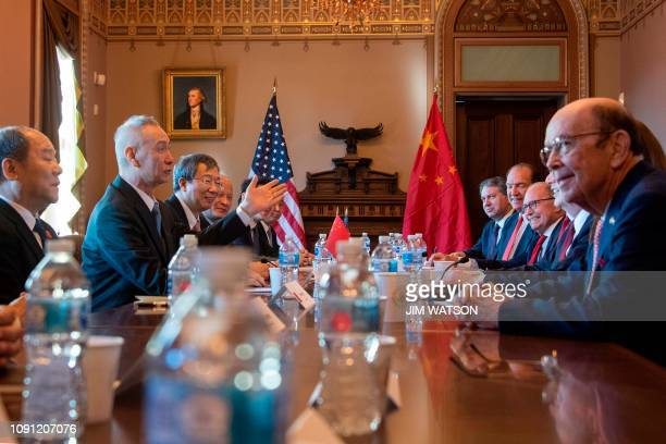 US Delegation including US Trade Representative Robert Lighthizer and US Secretary of Commerce Wilbur Ross talks with the Chinese Delegation...