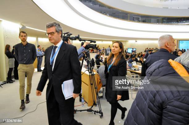 Delegation members leave the room prior to the address by Venezuelan Foreign Minister Jorge Arreaza at a session of the United Nations Human Rights...