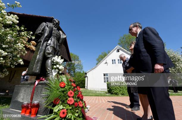 Delegation of Croatian anti-fascists lays a wreath at the monument, a statue by Croatian sculptor Antun Augustincic of Josip Broz Tito , former...